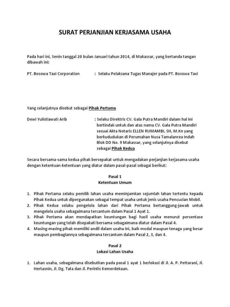 Contoh Surat Perjanjian Kerjasama Bagi Hasil Surat Komedi Tanggal