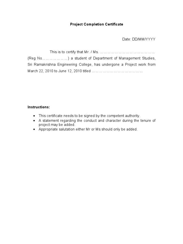 Project Completion Certificate Format Jakarta Kota  Home Design