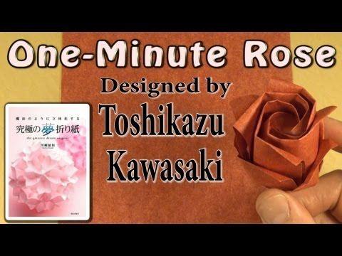 940) Easy Origami Rose Video Tutorial - YouTube | Fiori origami ... | 360x480