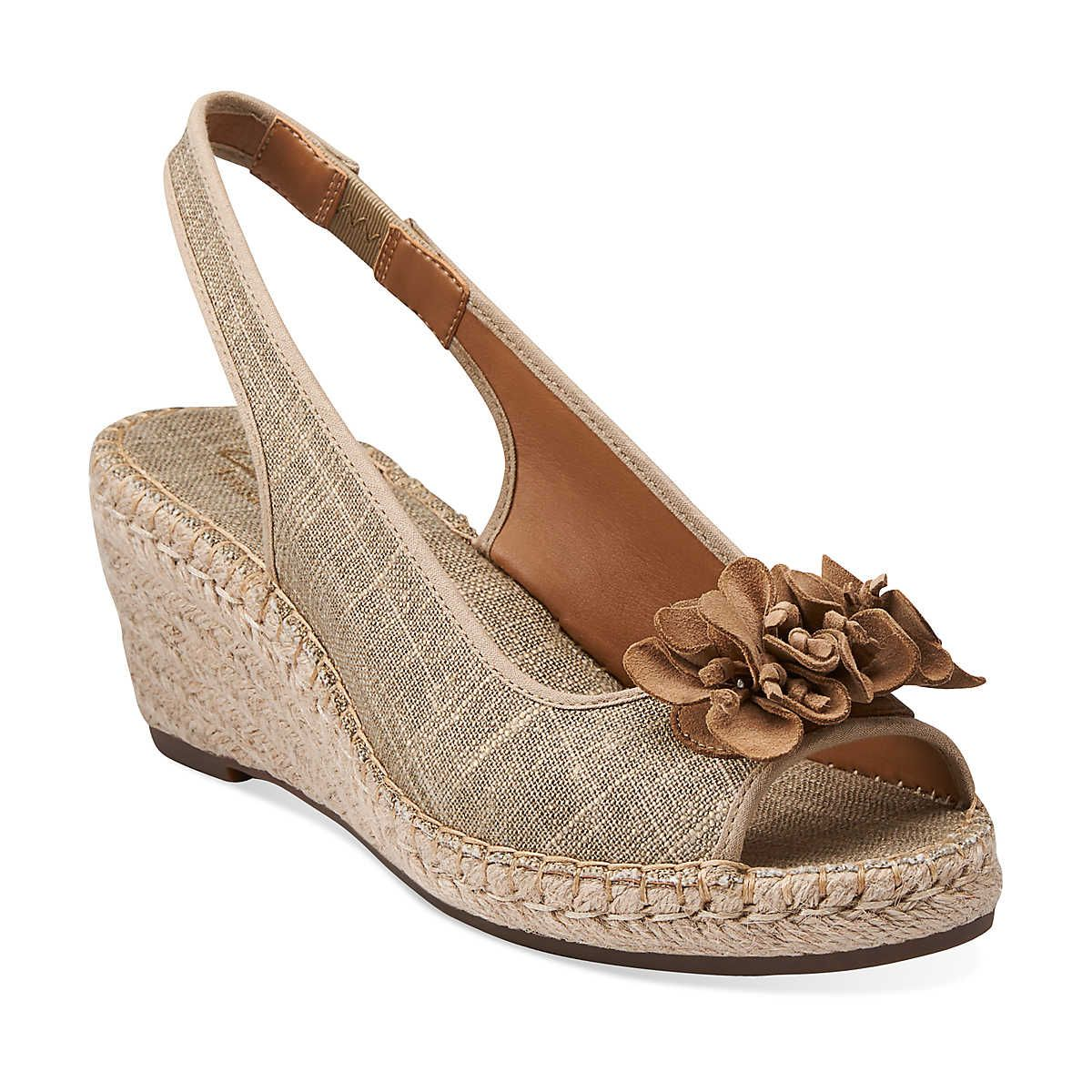17481cdd9 Petrina Corra in Sand Beige Linen Fabric - Womens Sandals from Clarks.  Can t wait for these to arrive in the mail!