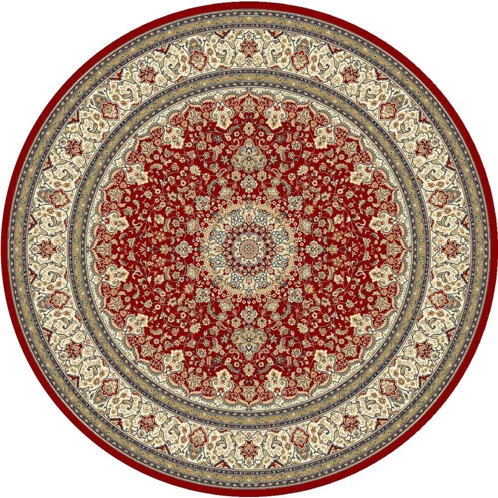 Nicholson Red Ivory 5 Ft X 5 Ft Round Indoor Area Rug 9172740110 Dynamic Rugs Area Rugs Round Area Rugs