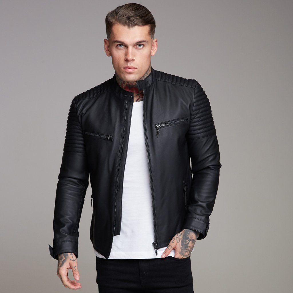 c6609c65a Black Bomber Leather Jacket - FSH198 in 2019 | Leather jacket outfit ...