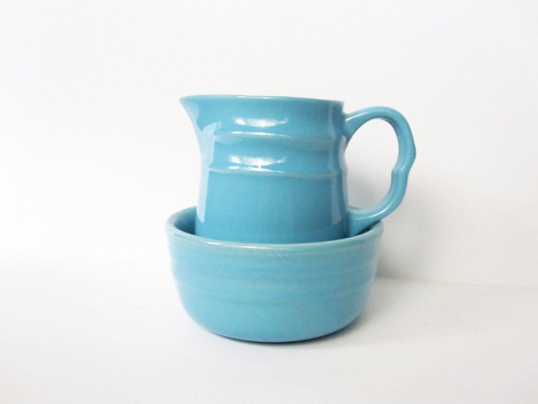 Oxford Stoneware Pitcher and Bowl, Aqua Blue, Vintage -- Set of 2. $20.00, via Etsy.