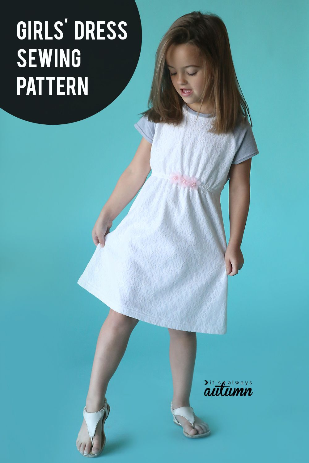 378656459107b Click through for the free sewing pattern for this cute girls' dress.  #itsalwaysautumn #sewingpattern #sewingforgirls #freesewingpattern