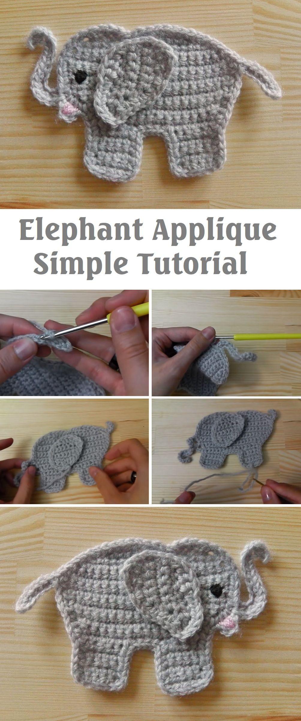 Crochet Elephant Applique – Very Easy! – Handmade paris #crochetelephantpattern