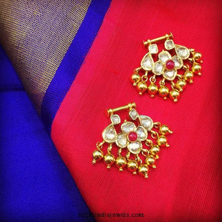 22K Gold Uncut Bali Earrings Gold Indian jewelry and Fashion