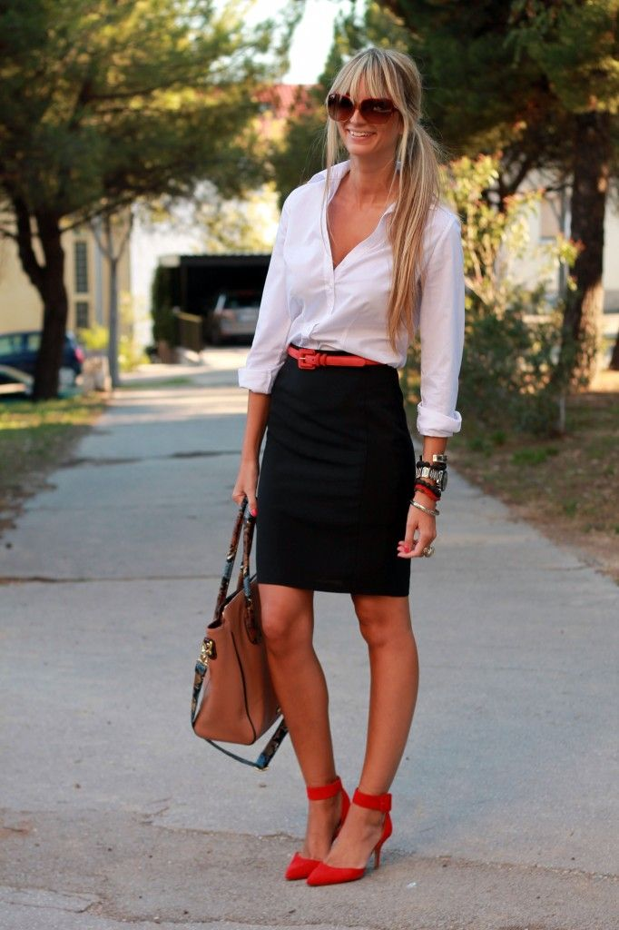 White buttondown, black pencil skirt, red shoes, red belt, work ...