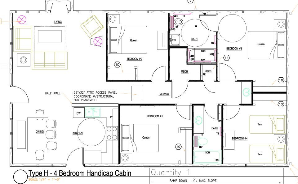 Honey Creek Resort Cottages Wheelchair House Plans Beach House Floor Plans Floor Plans
