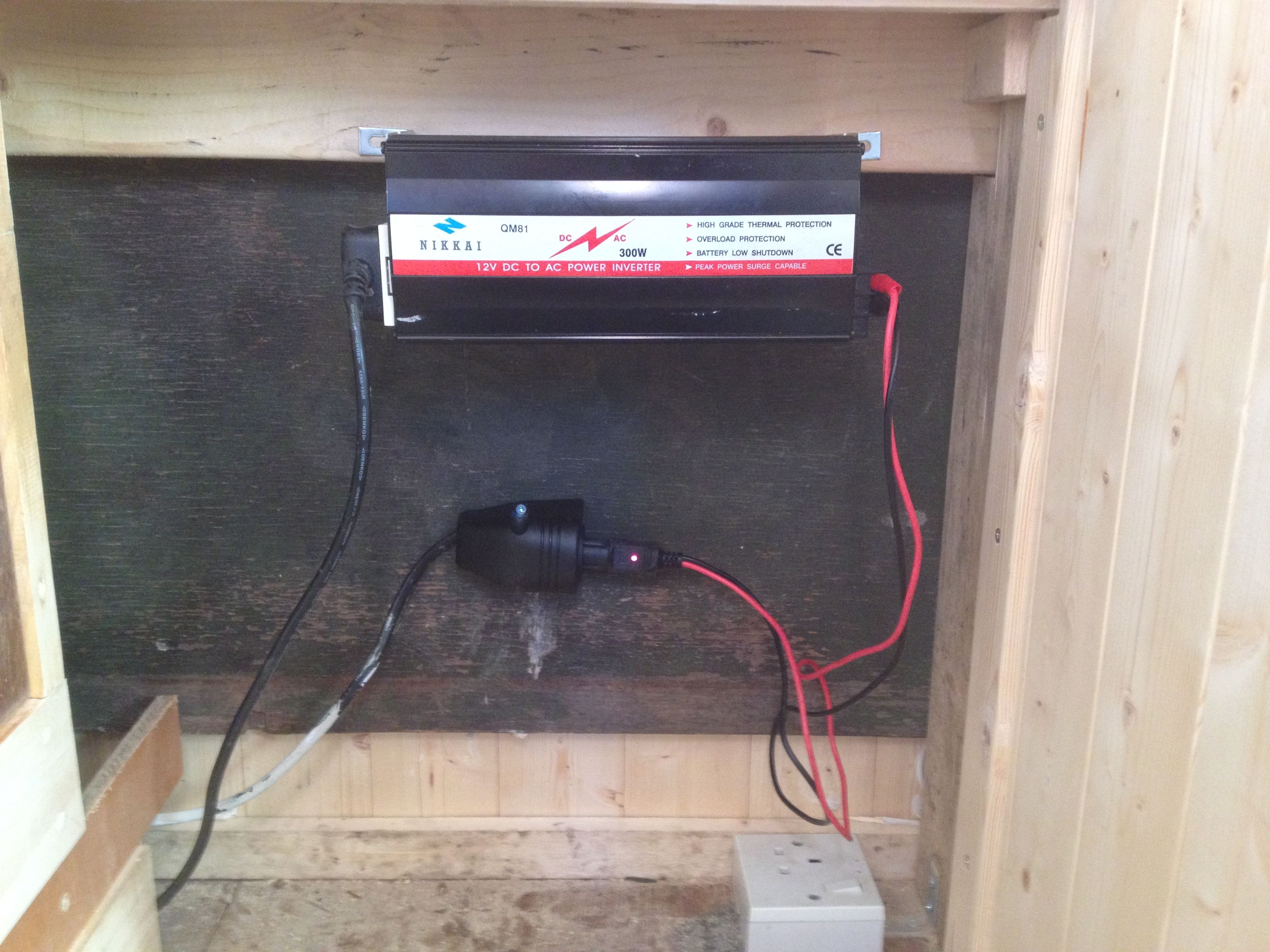 small resolution of 300 watt inverter fitted under unit cables need tidying 12v socket and 240v