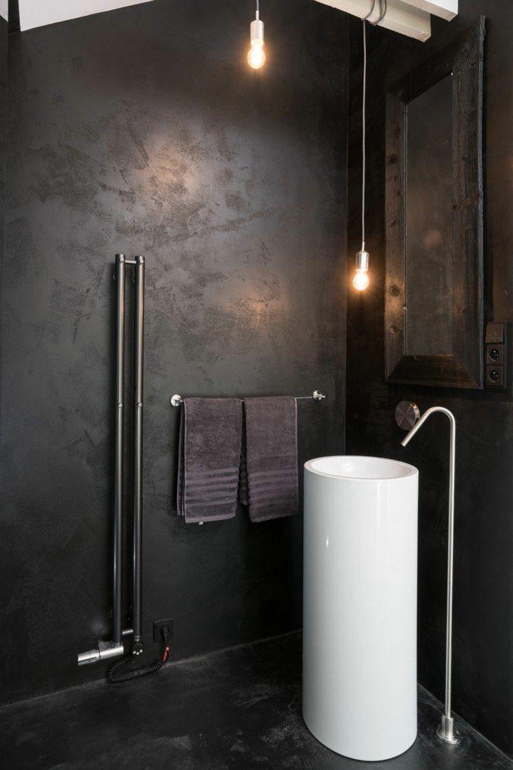 Schwarzer Putz für Wände ist elegant und eignet sich für ...