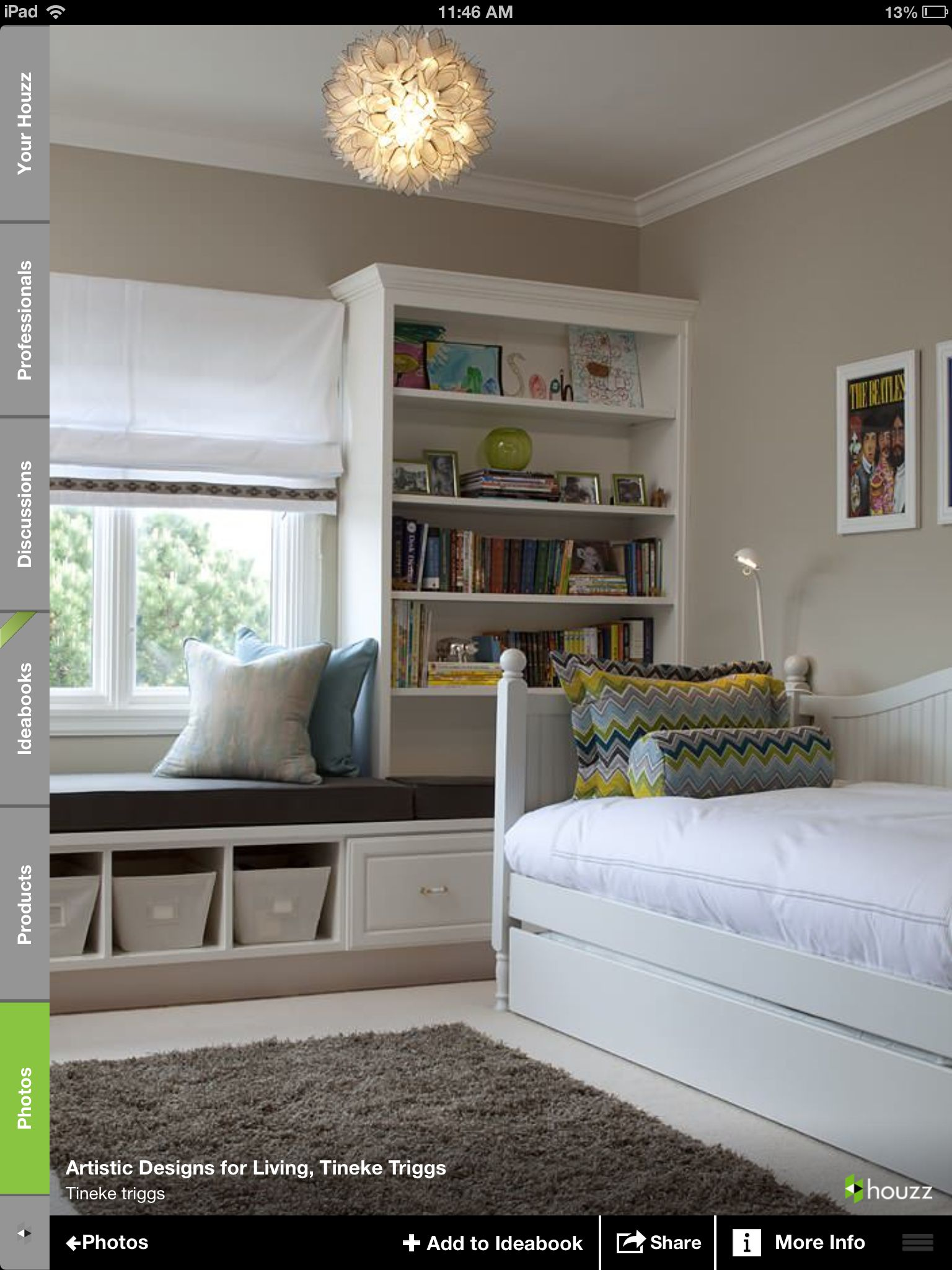 Window side bed  window seat added to a bookshelf great idea  forever home