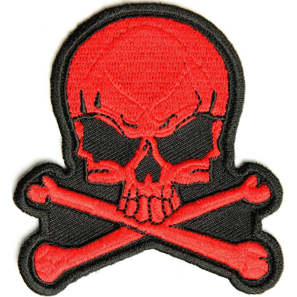 Embroidered Pink Skull and Cross Bones Sew or Iron on Patch Biker Patch