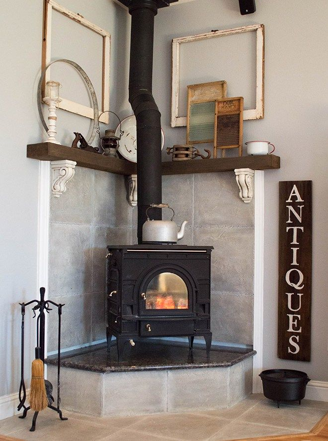 21 Tips To Diy And Decorate Your Fireplace Mantel Shelf Freestanding Fireplace Corner Wood Stove Wood Burning Stove Corner