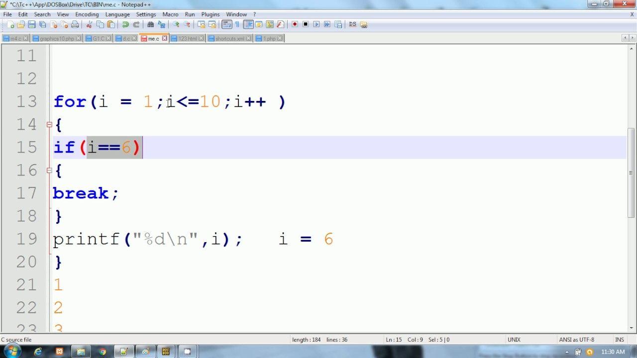 Forcefully Terminate For Loop Using Break Keyword In C Language