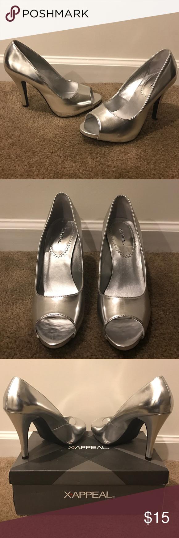 Silver peep-toe heels Cute flashy heels. Definitely an eye-catcher. Only worn a few times. Comes with original box. x appeal Shoes Heels