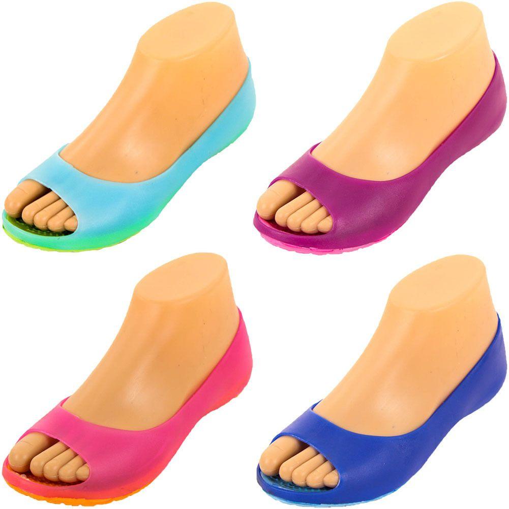 f705e8efe6a10 Womens Cushion Sole Jelly Ballet Flats Shoes Open Toe Sandal Plastic Slip  On Open Toe Sandals