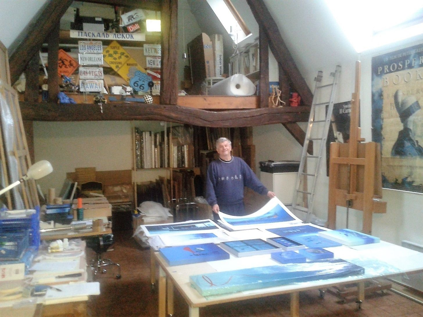 Sorting the artwork in my French studio