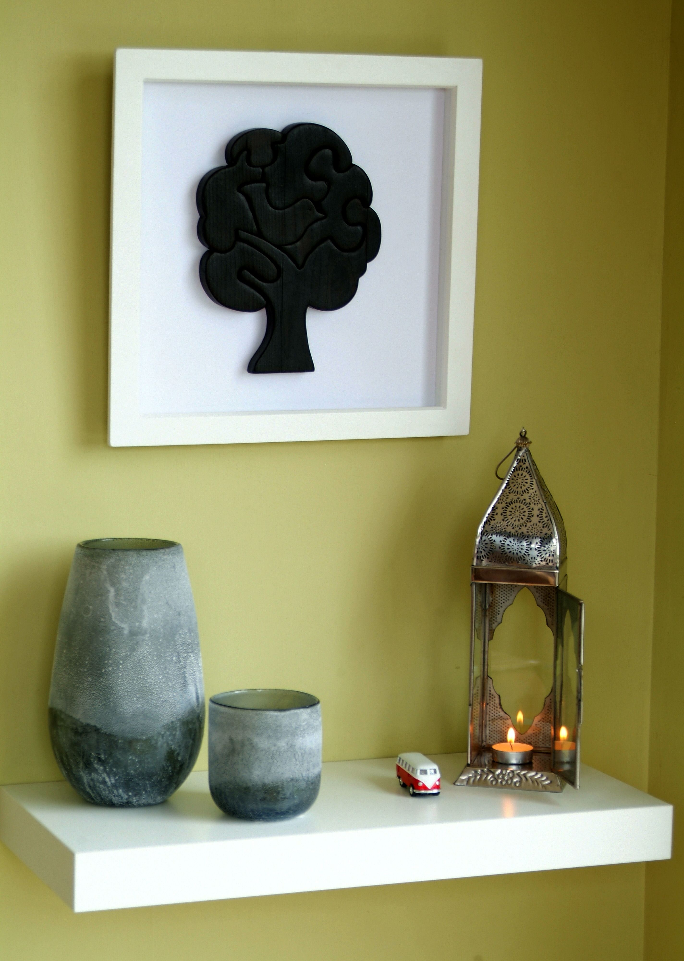 We've been burning stuff again! The wooden tree in the frame has had the scorch treatment!