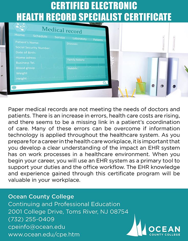 Certified Electronic Health Record Specialist Certificate