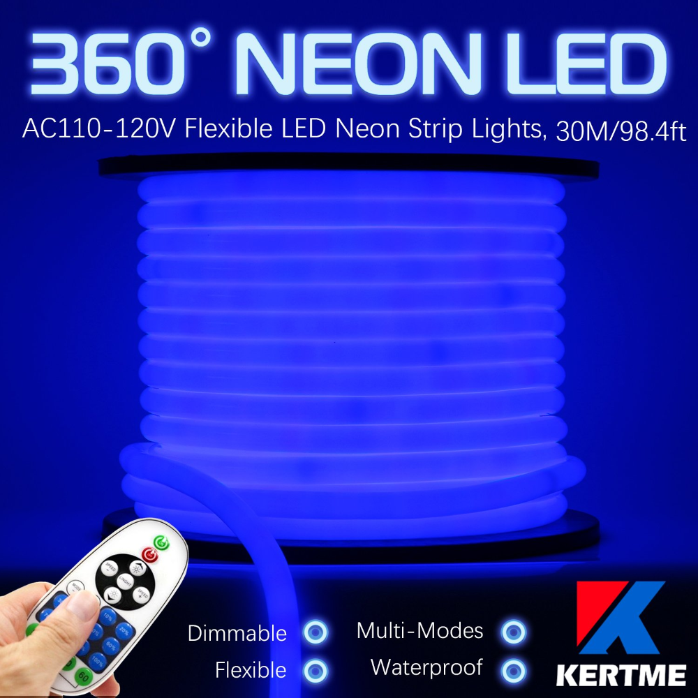 Amazonsmile Kertme 360 Neon Led Type Ac 110 120v 360 Degree Neon Led Light Strip Flexible Waterproof Dimmab In 2020 Strip Lighting Led Rope Lights Led Light Strips