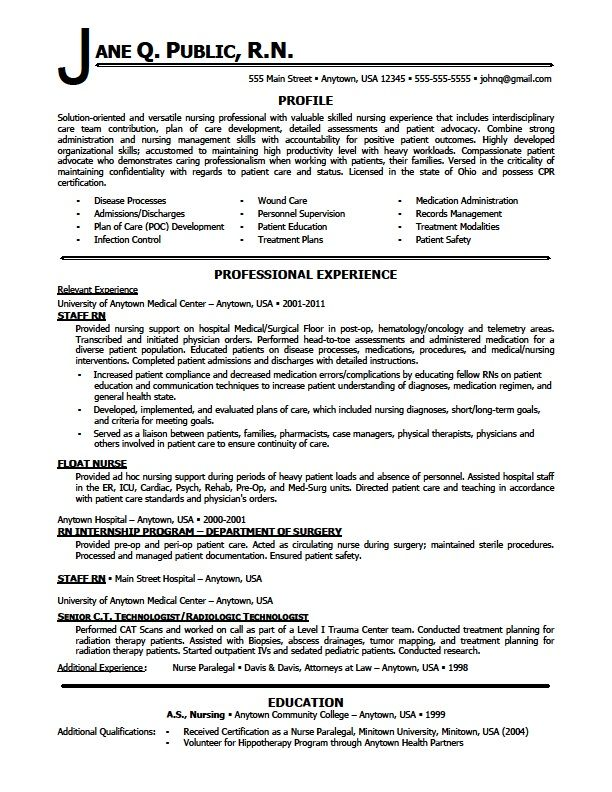 Rn Resume Example Resume For Nursing Students Resume For Nursing