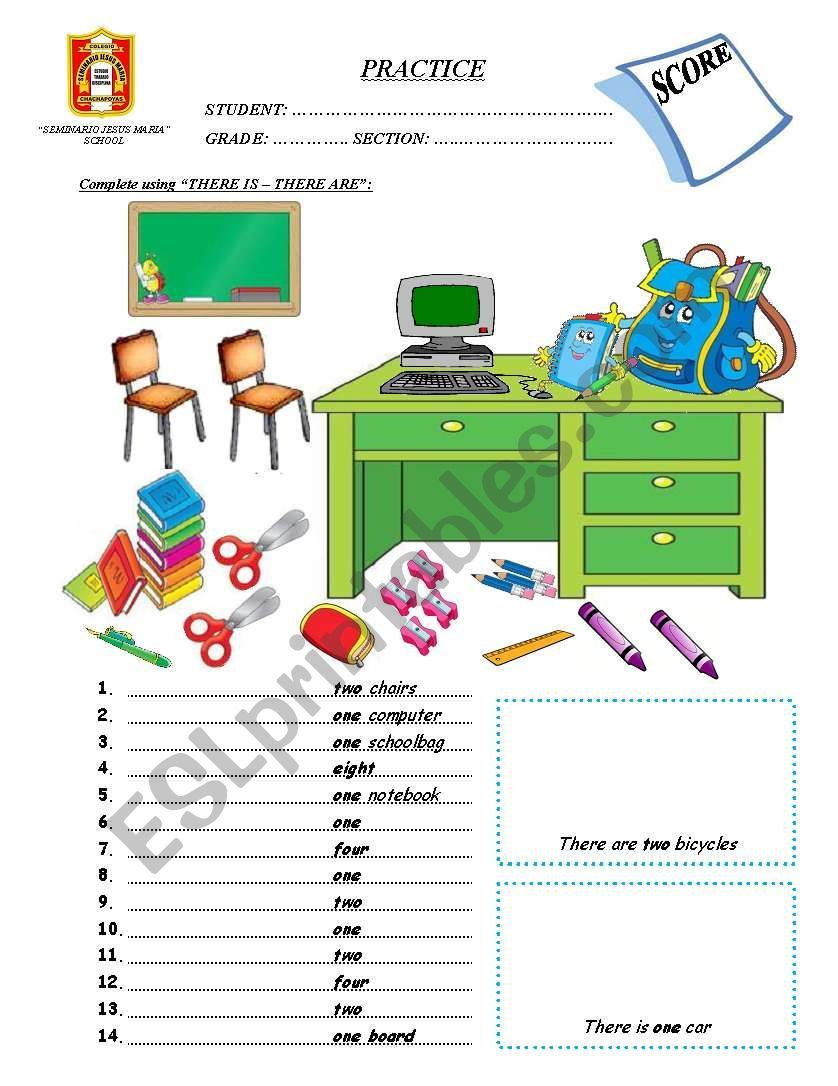 There Is There Are Classroom Objects Classroom School Worksheets [ 1086 x 838 Pixel ]
