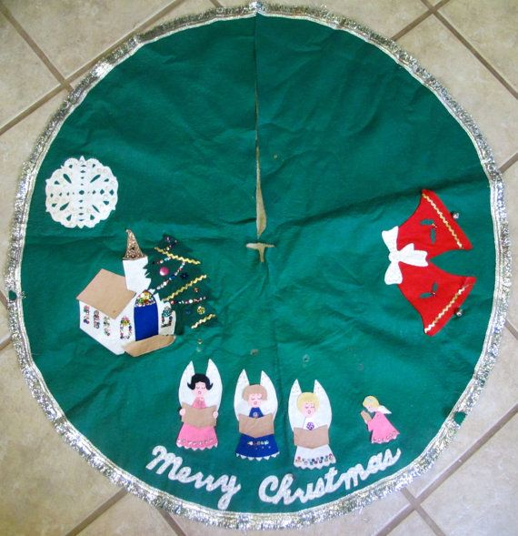 Vintage Felt Tree Skirt by lishyloo on Etsy, $20.00