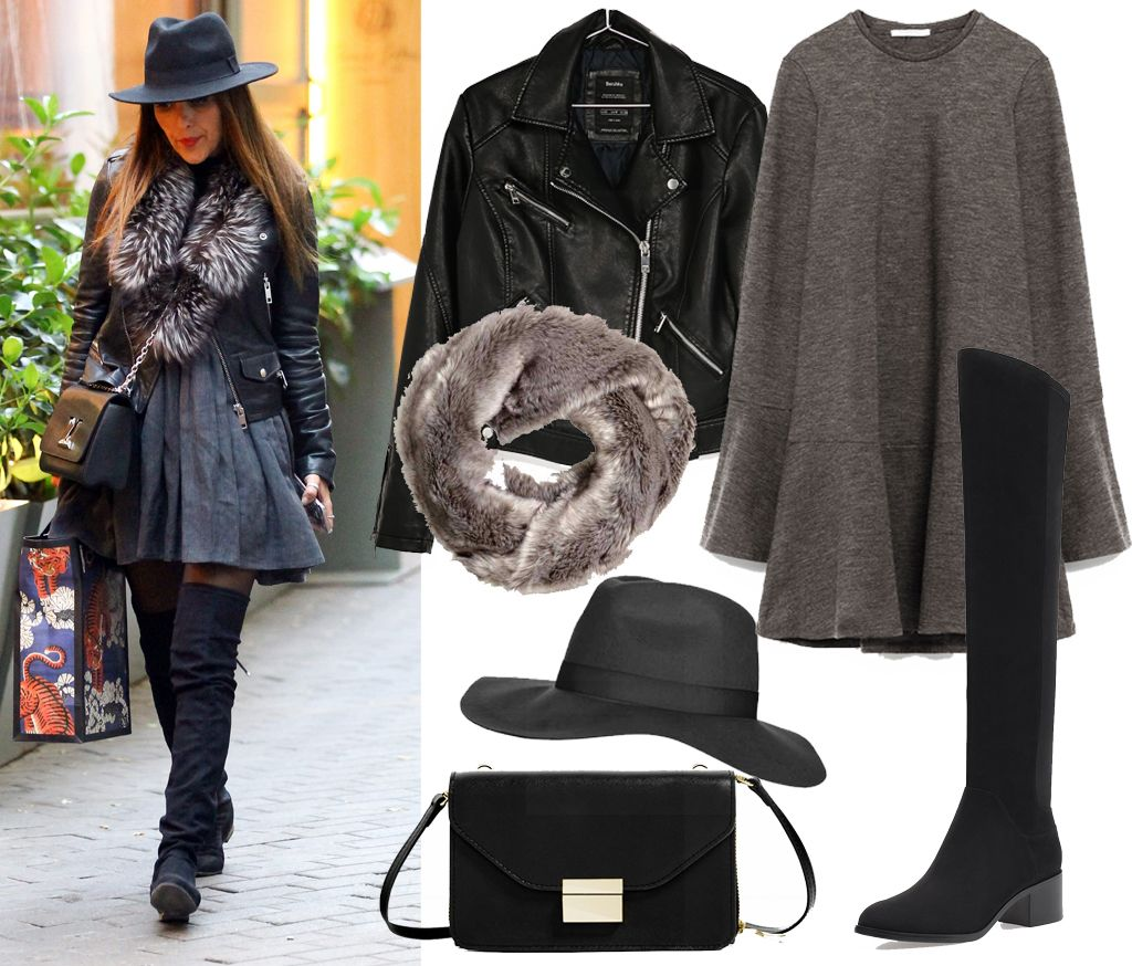 Shopping Outfit: brown-grey knit dress+black over the knee boots+black moto leather jacket+black crossbody bag+brown fur scarf+black hat. Fall Shopping Outfit 2016