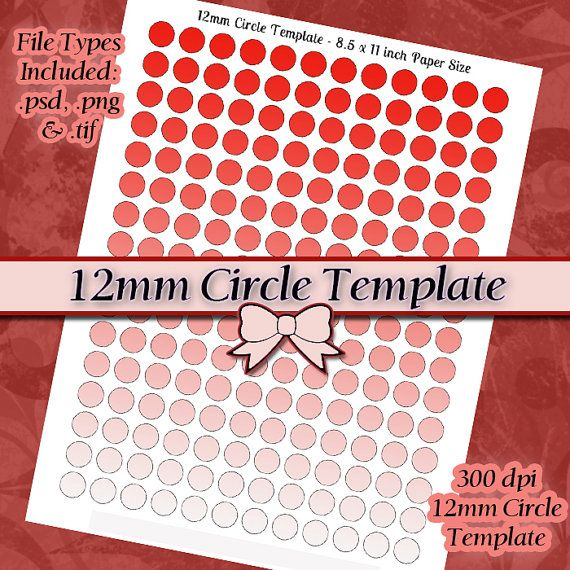 12mm Circle Template DIY DIGITAL Collage Sheet by JeweledLizard - circle template