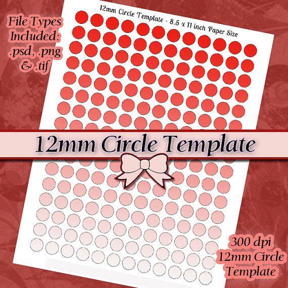 12mm Circle Template DIY DIGITAL Collage Sheet by JeweledLizard - circle template