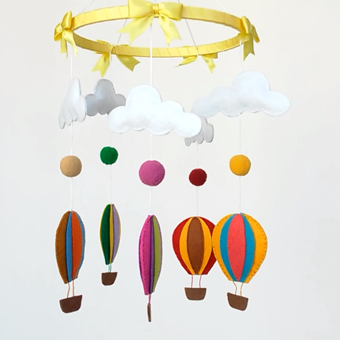 Photo of felt hot air balloon mobile