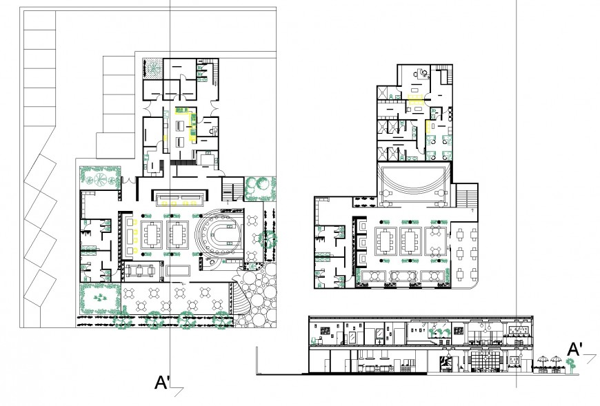 Mexican Restaurant Design 2 Levels Plan And Section Detail Dwg