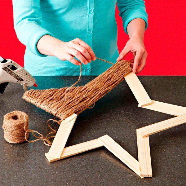 Estrella de navidad hecha con cuerda de yute ideas para - Manualidades de estrellas de navidad ...