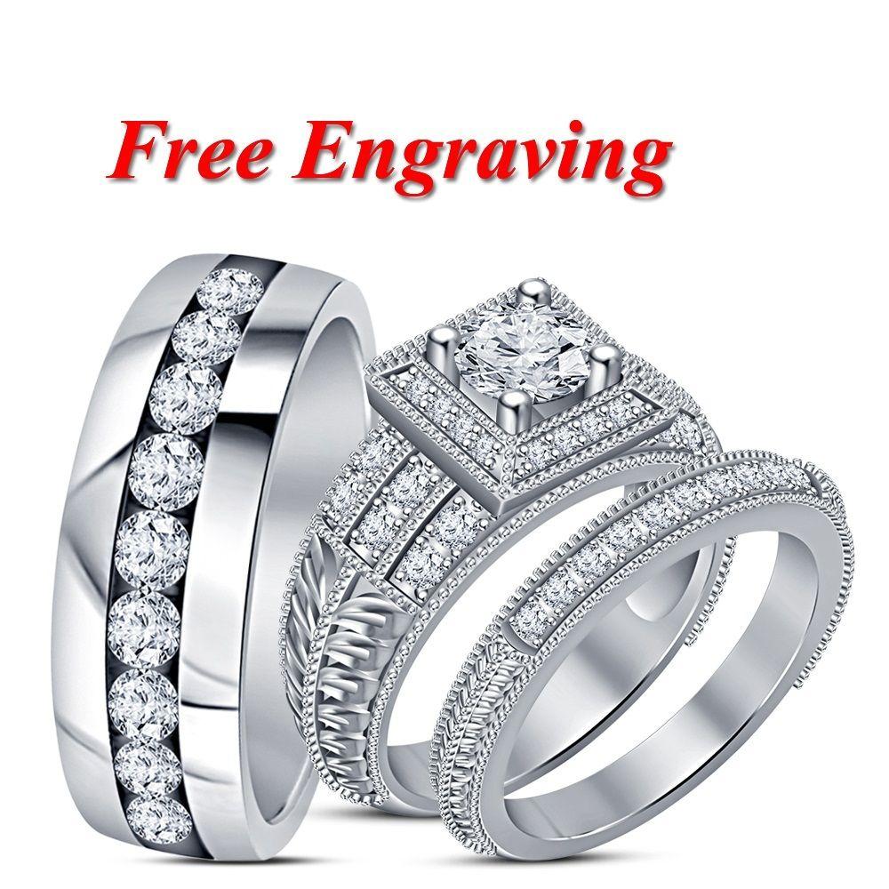 Men's & Women's Engagement Ring Diamond Trio Set 14k White