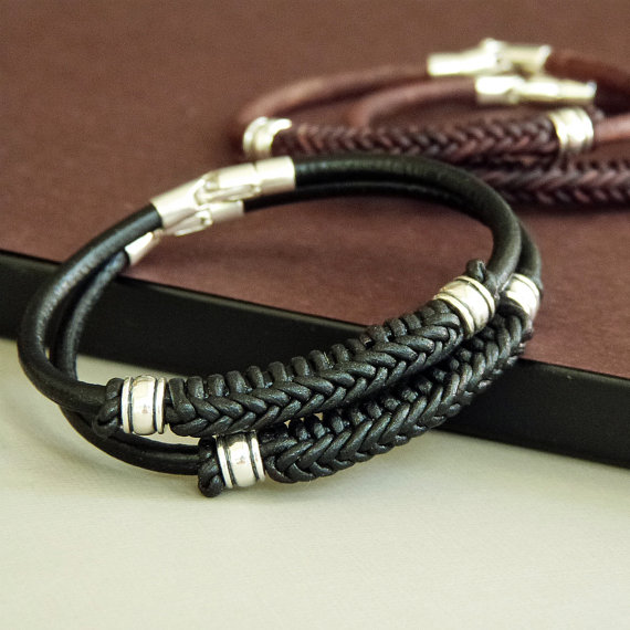 Spanish Braid Braided Leather Bracelet For Men Women With Sterling Silver Nautical Sailor Knot