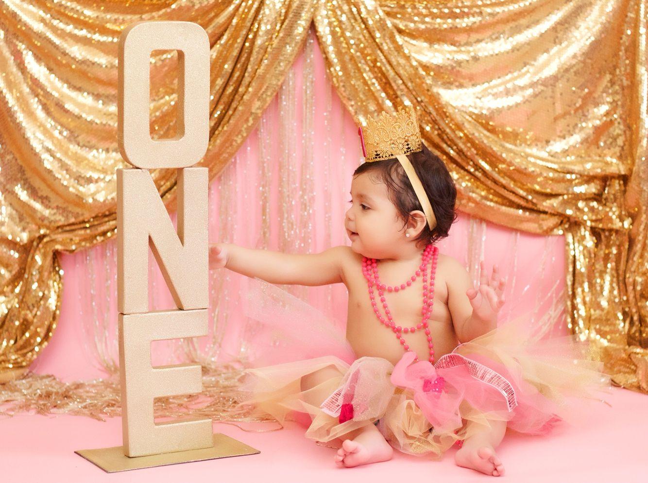 Princess photo shoot, cake smash, pink and gold photo