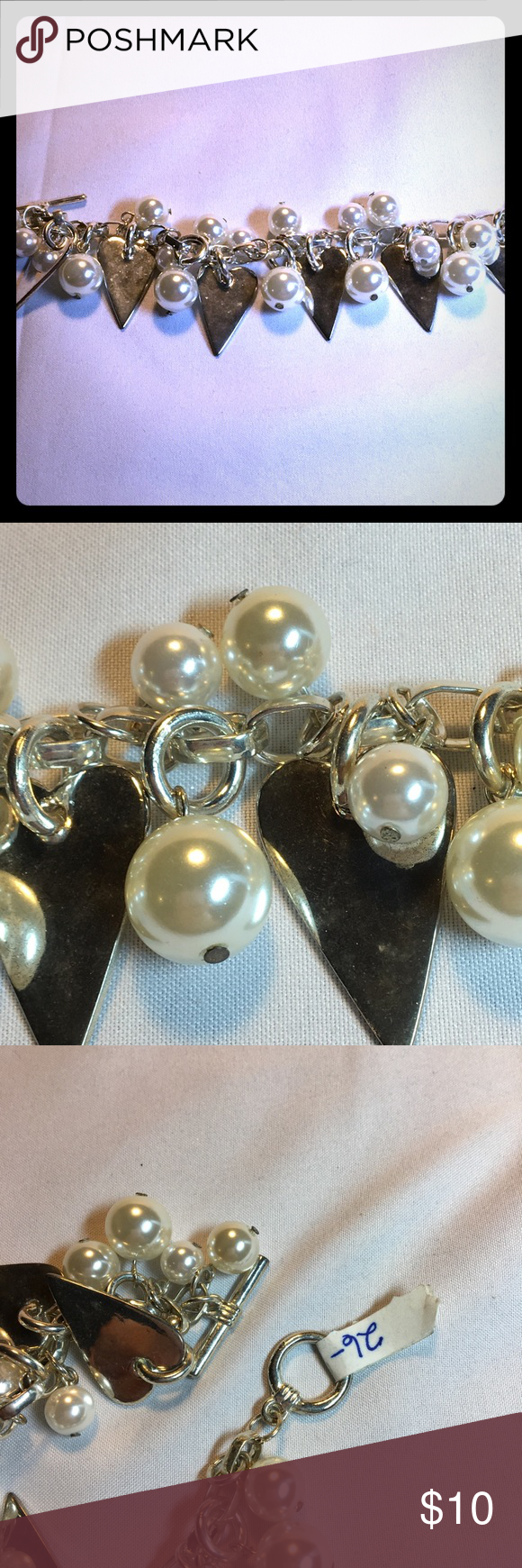 """Pearl and heart bracelet. Pearl and heart bracelet.  Toggle clasp. 7  3/4 """" long.  NWT. Never worn. #0023 Jewelry Bracelets"""