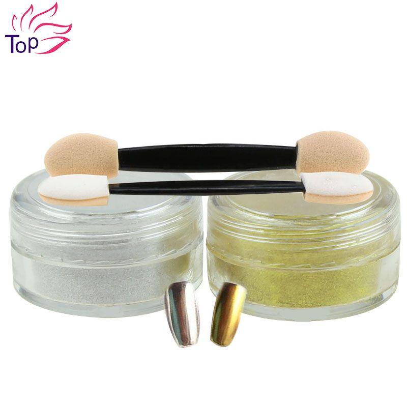 골드 은색 2 상자 1 그램/3 그램 네일 장식 조각 거울 반짝이 파우더 손톱 빛나게 먼지 네일 아트 DIY 크롬 안료 반짝이 JH420