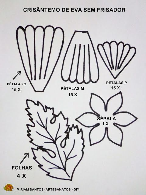 Flores de Mira: Crisântemo de Eva sem Frisador- Diy | moldes ...