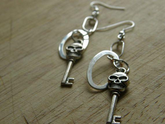 Metal Loop and SkullKey Earrings by SavannahVoodoo on Etsy, $8.00