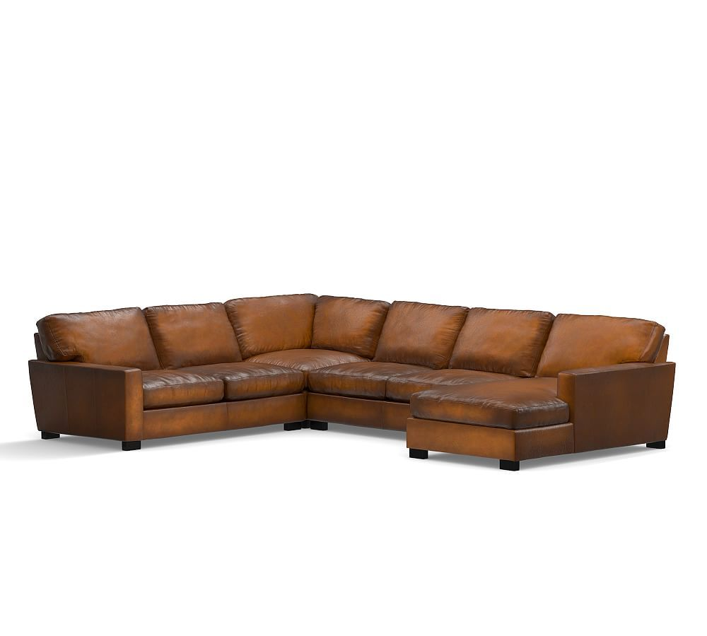 Turner Square Arm Leather Left 4 Piece Chaise Sectional Polyester Wred Cushions Burnished Bourbon At Pottery Barn