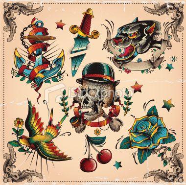Tattoo Flash Set It Old School Style Traditional Ink Traditional Tattoo Colours Flash Tattoo