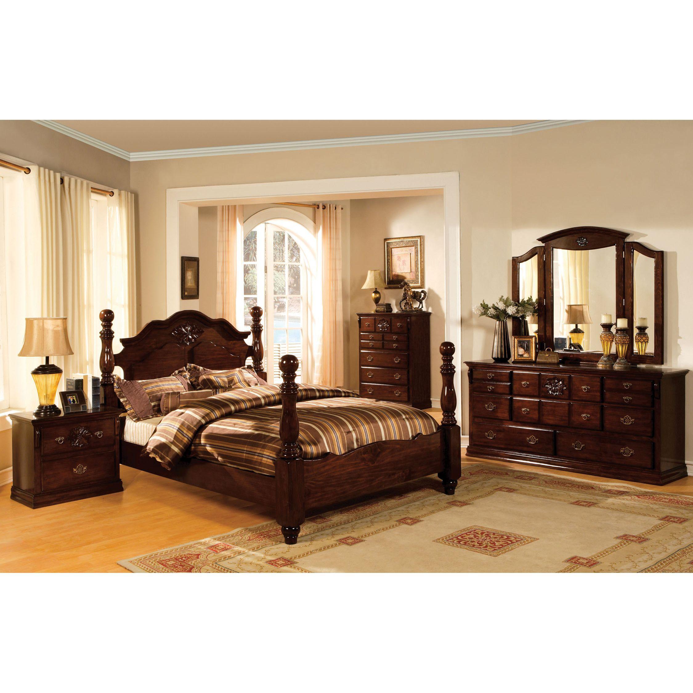 Furniture Of America Weston Traditional 4 Piece Glossy Dark Pine