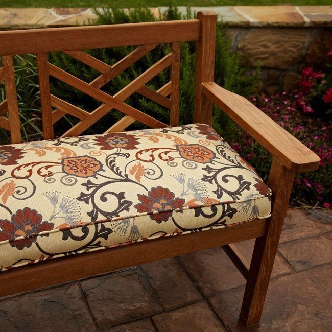 Clara Grey Rust Indoor Outdoor 60 Inch Sunbrella Fabric Bench Cushion Elegance Marble Gray And Swirl Fl