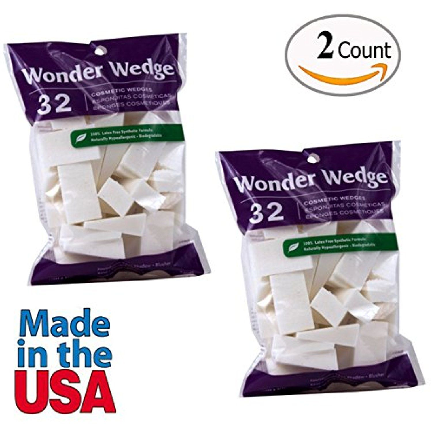 Cosmetic Wedges Made in USA Foam Makeup Sponges Puffs from