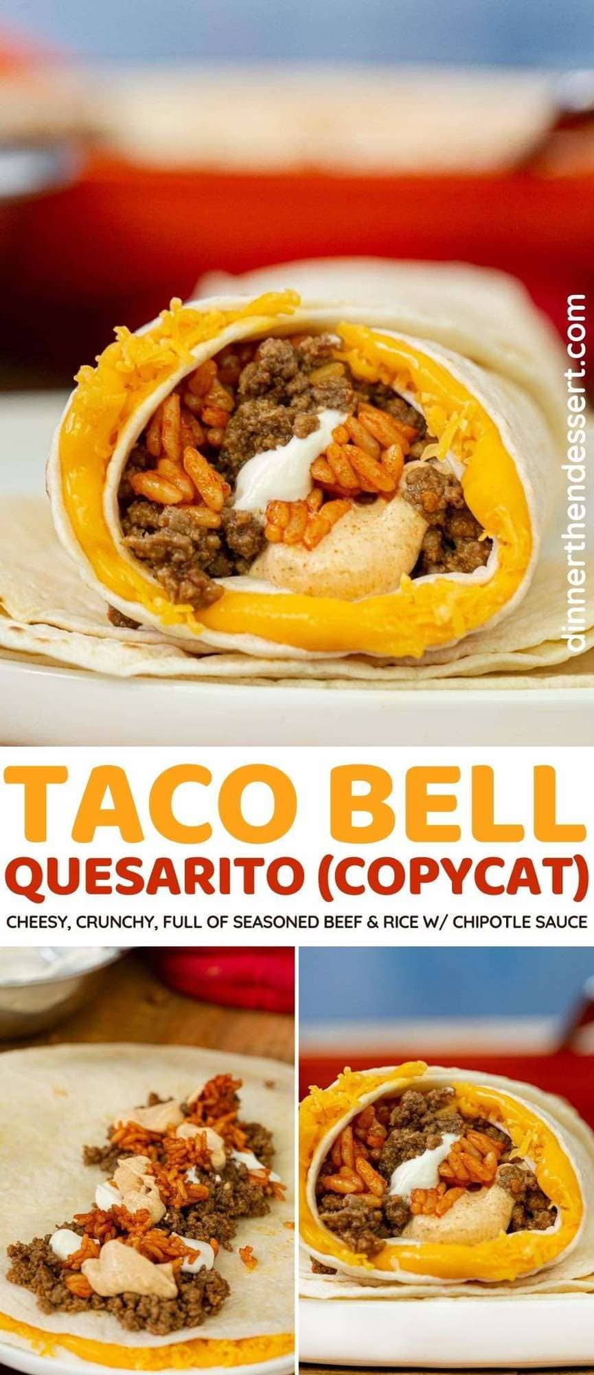Taco Bell Quesarito Copycat Are Cheesy Crunchy Full Of Seasoned Beef And Rice Perfect Taco Bell Recipe With In 2021 Quesarito Recipe Beef Recipes Copykat Recipes