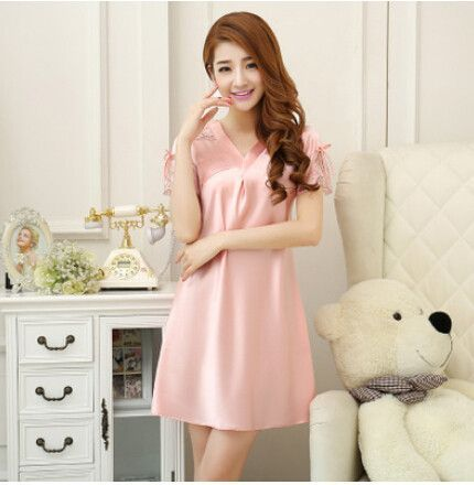 Elegant Well-Made High-Quality Silk Sexy Lace Trim Nightgown 3 Colors M-3XL