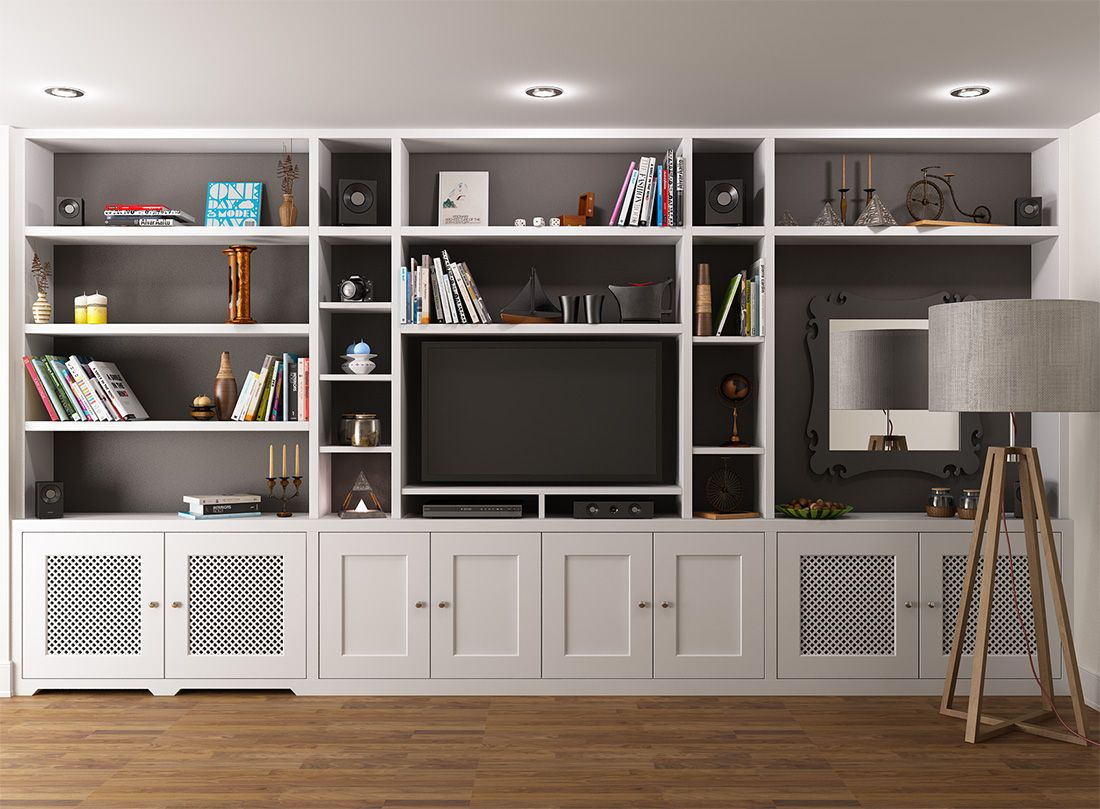 i like the middle section of this unit with the cupboards below check dimensions - Built In Bookshelves Around Tv