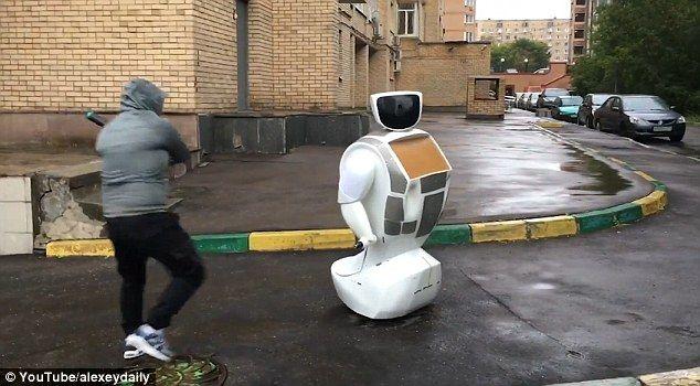 Robot Gets Beaten Down With A Baseball Bat In Moscow Baseball Bat Robot Baseball