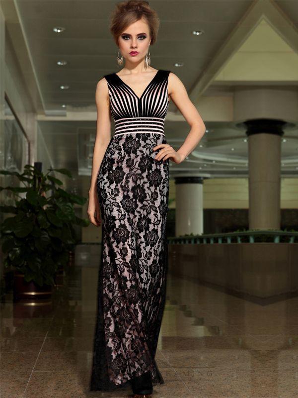 V Neck Black And White Stripes Bodice Long Formal Dresses With